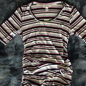Motherhood Maternity Pink&Gray Striped Dress